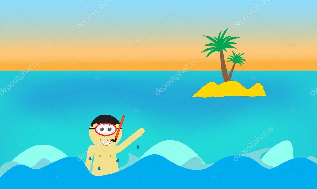 Animado Mar Dibujo Niño De Dibujos Animados En Mar Con Isla