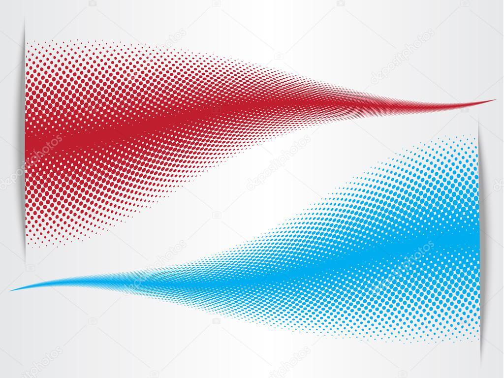 Resumen De Rojo Y Azul De Tono Medio Ondas De Fondo Con El