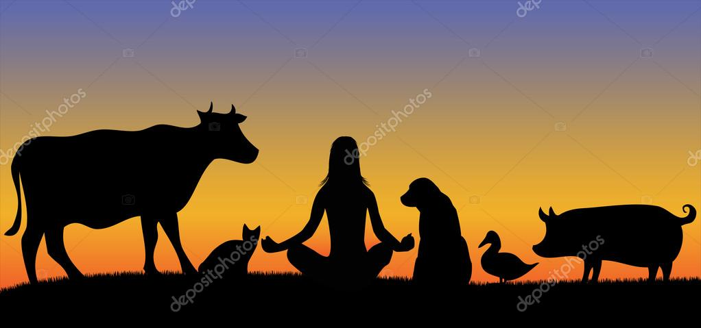 Silhouettes of woman with many animals