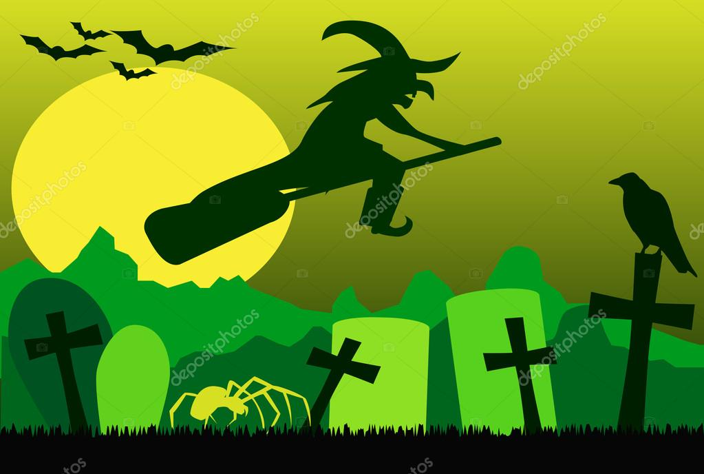 Silhouette of flying witch on broom, with spider, raven and bats green