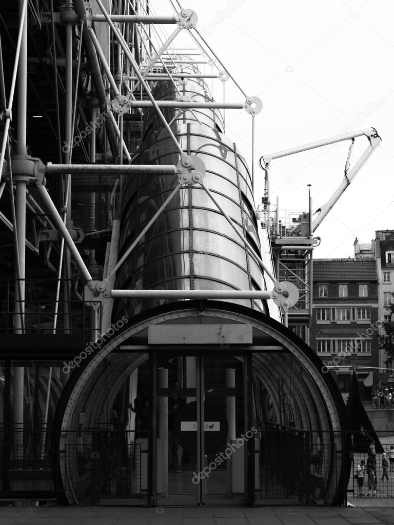 The Centre Pompidou Industrial structure (museum) in Paris, France. Black and white.