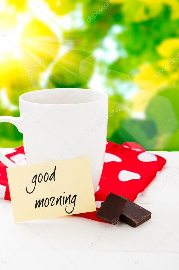 Good Morning With Smile And Cup Coffee Stock Photo Yra1105 83435234