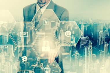 Business intelligence concept man pressing selecting data protection