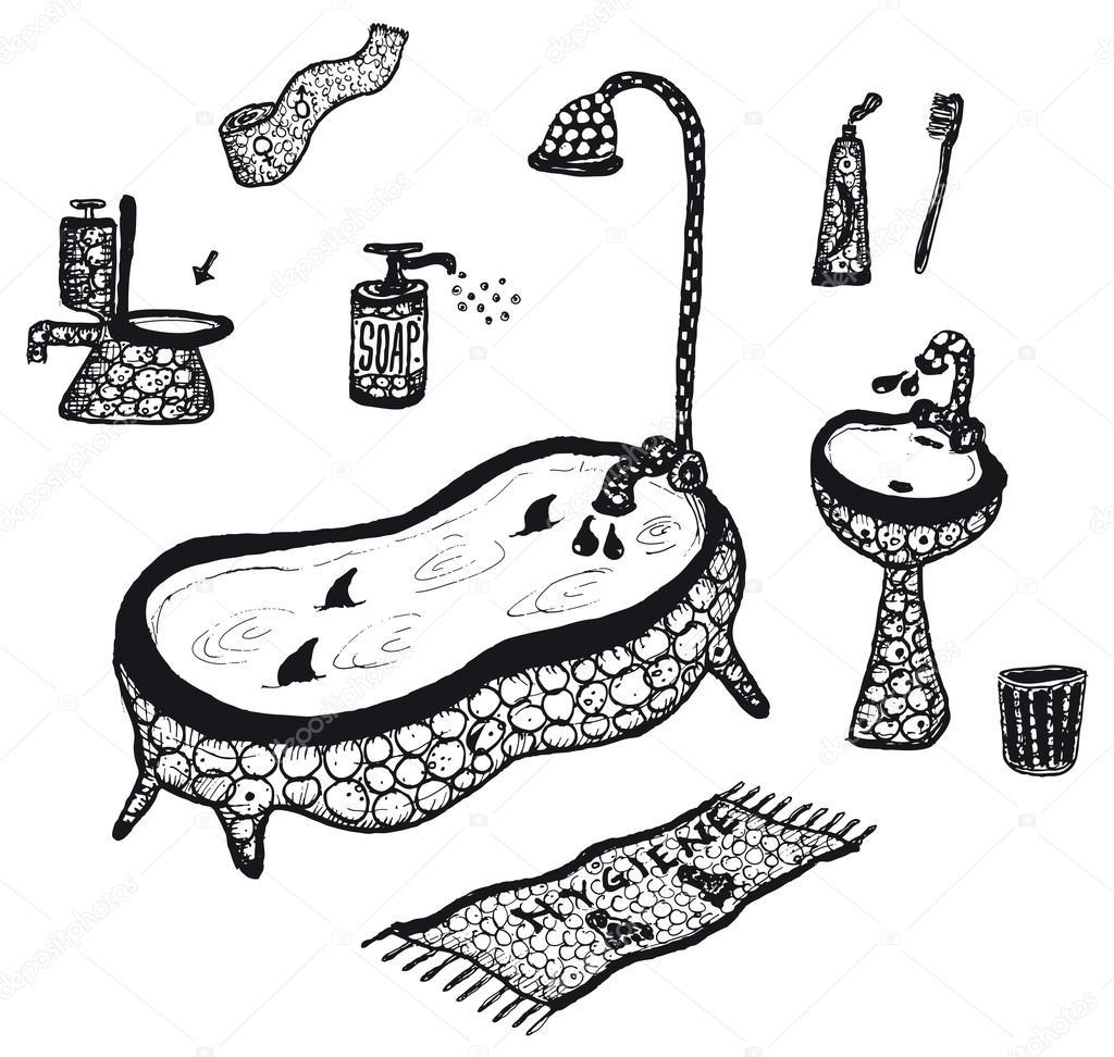 Imágenes Objetos De Higiene Para Colorear Conjunto De
