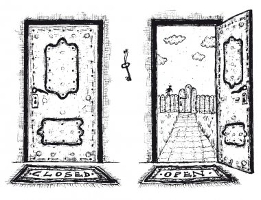 Sketched Door, Open And Closed