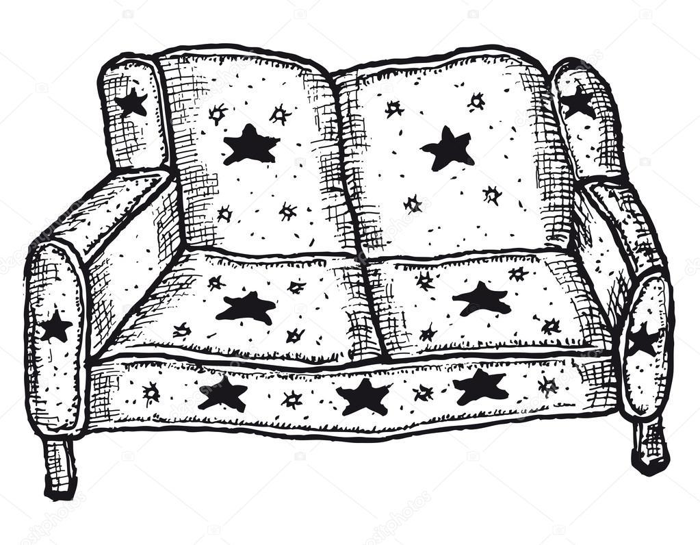 Sofa gezeichnet  gezeichneten isoliert sofa — Stockvektor #53596673