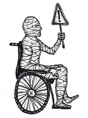 Hand drawn injured mummy man in a wheelchair