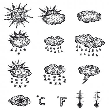 Illustration set of hand drawn doodle sketched weather icons with meteorology interface elements, like sun, clouds, rain, thunder and temperature symbols clip art vector