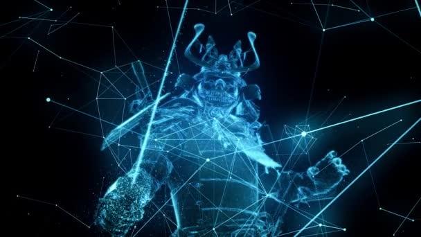 Cyber Digital Samurai Krieger Schwert Katana in der Hand Vorbereitung auf den Kampf 4k