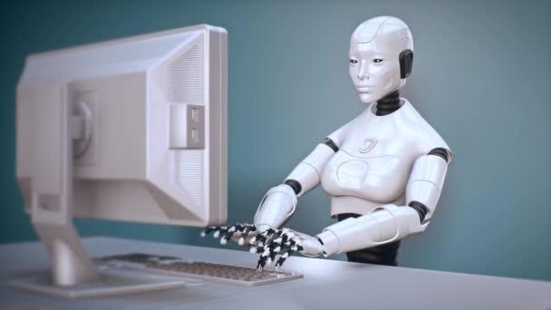 Robot s umělou inteligencí a strojové učení používá počítač 01 4k