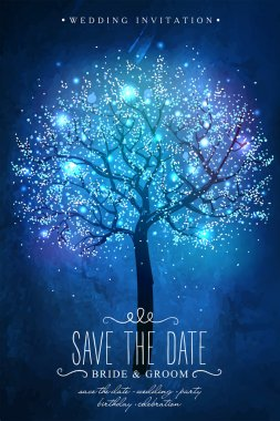 Save the Date. Inspiration card for wedding, date, birthday party. Beautiful magic tree