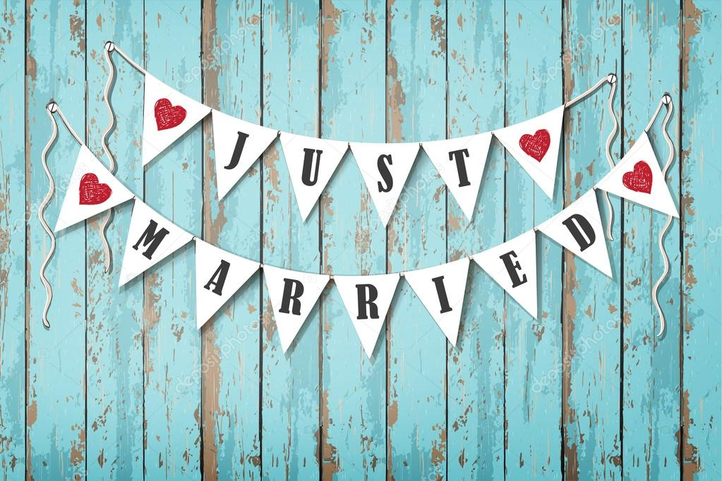 hanging wedding decorative flags with inscription just married vintage wooden background - Decorative Flags