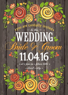 Wedding invitation card with beuty floral background. Inspiration card for wedding, date, birthday, tea or garden party. Freehand drawing