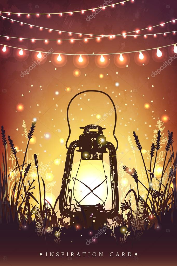 Amazing vintage lanten on grass with magical lights of fireflies at night sky background. Unusual vector illustration. Inspiration card for wedding, date, birthday,  holiday or garden party