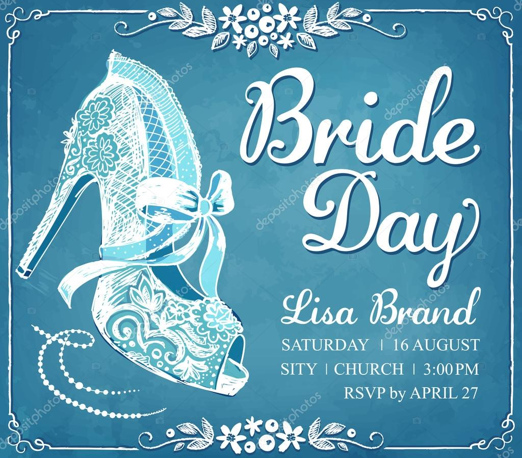 bridal shower invitation card with beautiful lace brides shoe floral frame wedding invitation