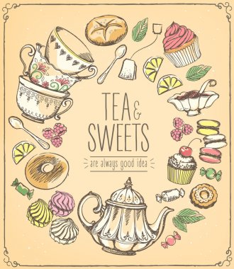 Tea ceremony vector llustration. Tea time. Tea and set of sweets