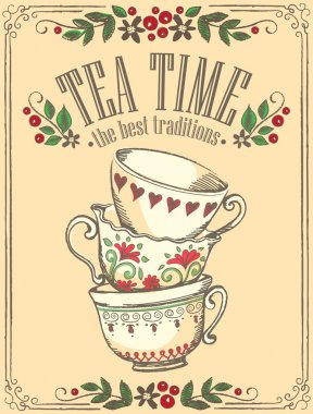Illustration Tea Time with cute cups. Freehand drawing. Sketch