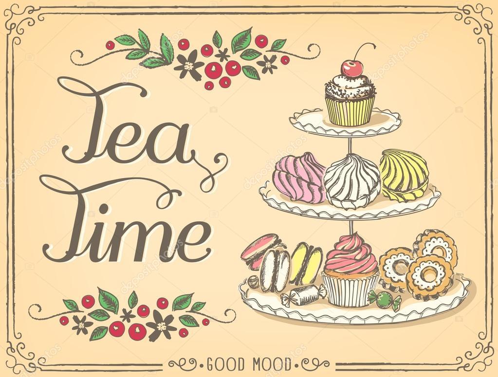 Retro Illustrazione Del Tempo Per Il Tè Con Dolci E Dolcetti