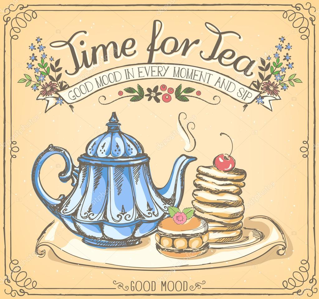 Retro illustration Time for tea with teapot and pancakes — Stock ...