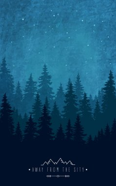 Silhouette of forest at night sky. Woodland scenery