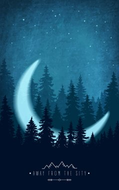 Silhouette of forest at night sky. Woodland scenery with crescent