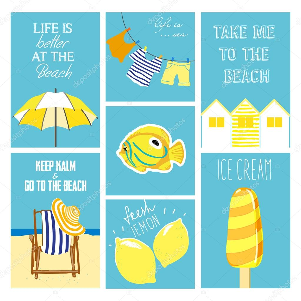 Hand drawn summer cards collection vector illustrations for hand drawn summer cards collection vector illustrations for graphic and web design for summer vacation beach party greeting cards enjoying the sun and kristyandbryce Image collections