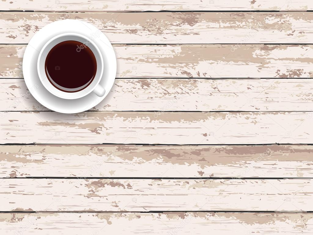 Vector Illustration Breakfast Coffee On A Wooden Table
