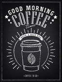 Fotografie Vintage Poster - Breakfast, coffee time. Freehand drawing on the chalkboard. Coffee to go, hamburger