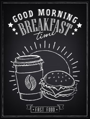 Vintage Poster. Breakfast time. Hamburger and coffee