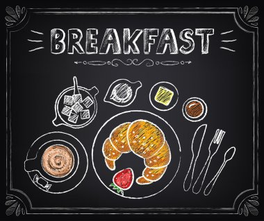 Vintage Poster. Breakfast. Sketch illustration. Croissant and coffee. Set on the chalkboard for design in retro style