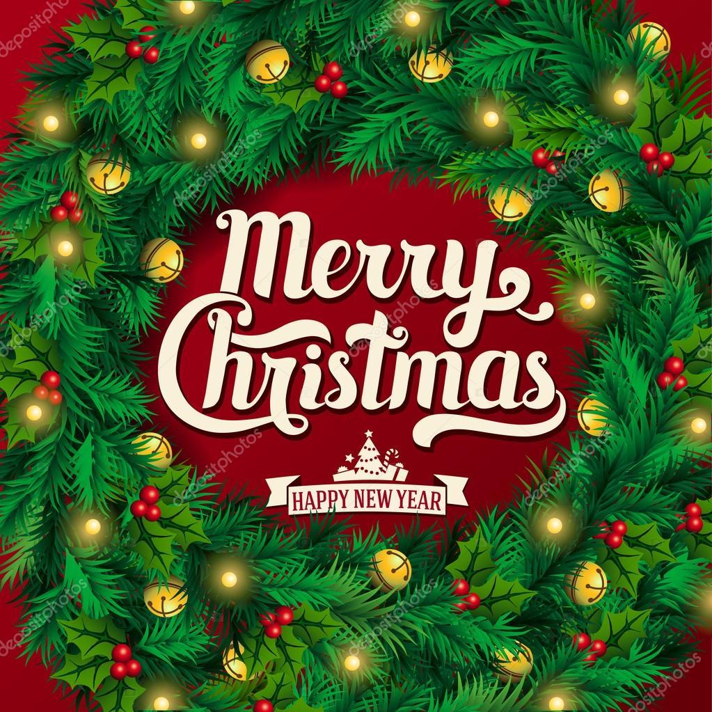 Immagini Natalizie Con Scritte.Cartolina D Auguri Di Natale E Sfondo Corona Di Natale Con