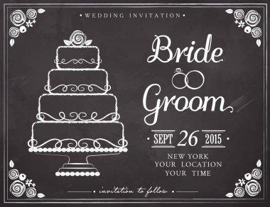 Wedding invitation vintage card. Wedding cake. Freehand drawing on the chalkboard