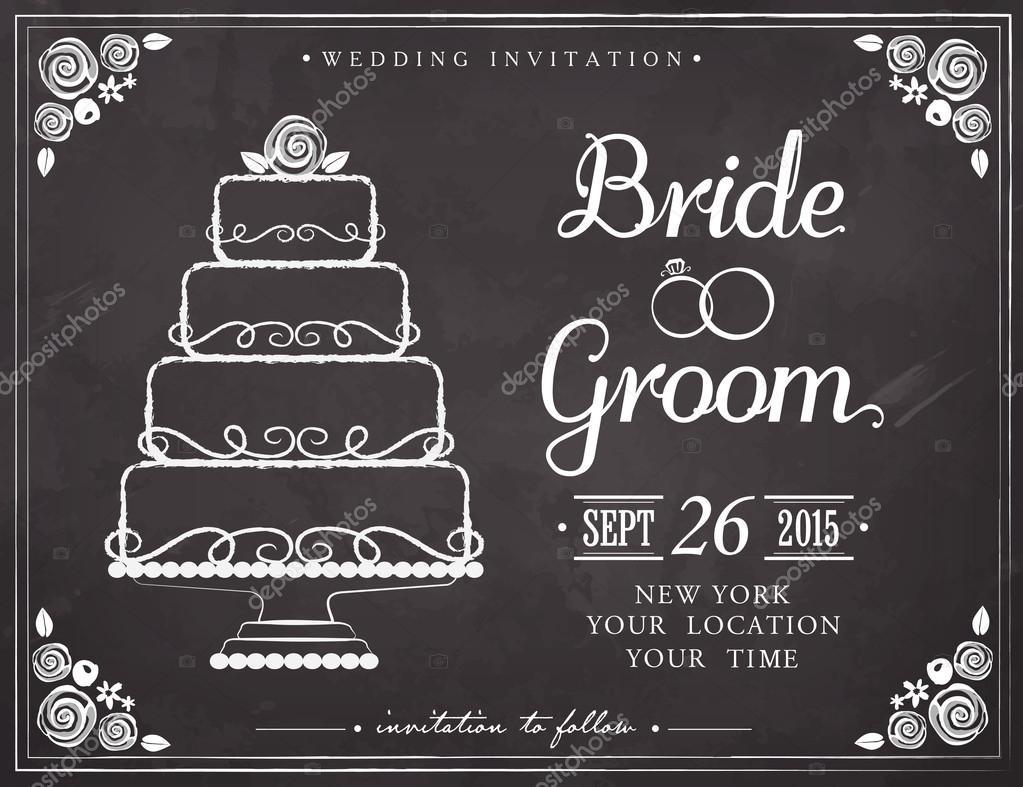 Hochzeit Einladung Grußkarte. Hochzeitstorte. Freihandzeichnen Auf Der Tafel  U2014 Stockvektor