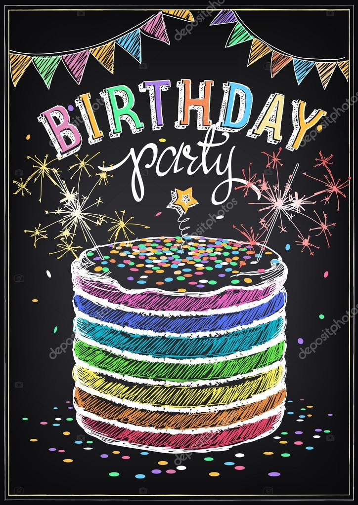 Birthday Invitation Card Cake With Sparklers Stock Vector