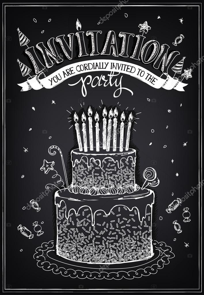 Invitation card to the party or birthday birthday cake with candles invitation card to the party or birthday birthday cake with candles vetores de stock stopboris Image collections