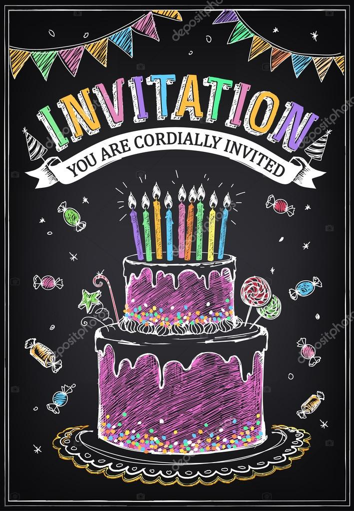 Invitation card to the party or birthday birthday cake with candles invitation card to the party or birthday birthday cake with candles vetores de stock stopboris Gallery