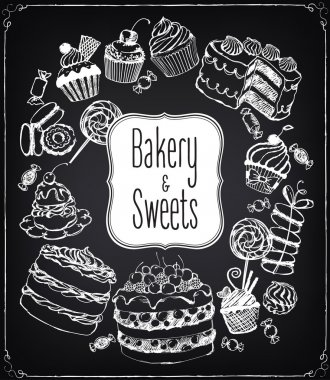 Set of hand-drawn vector icons pastries and sweets. Bakery shop.