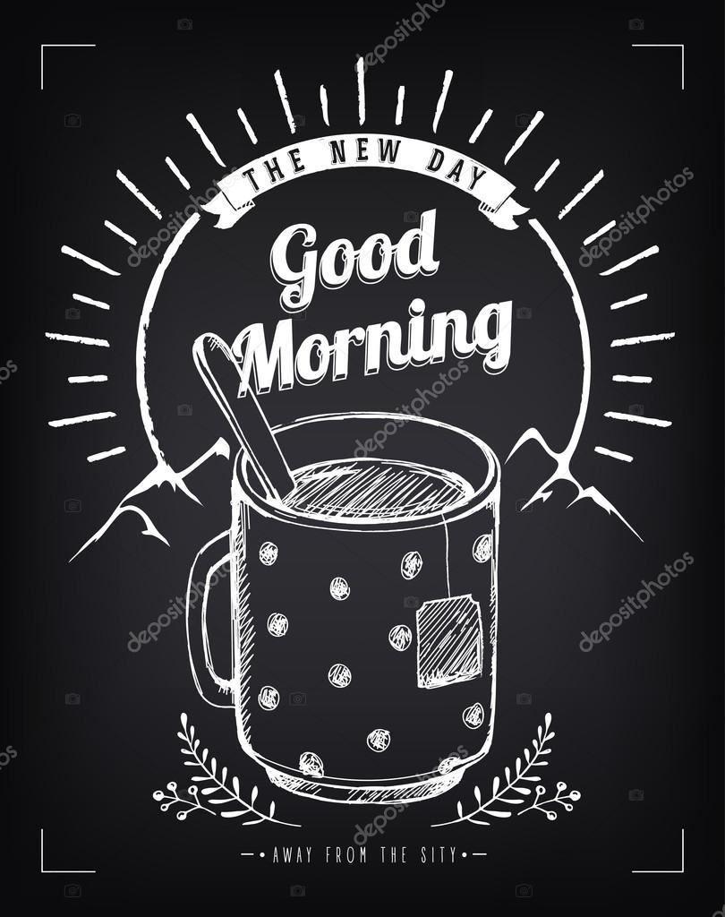 Positive vintage poster with sunrise and mug. Title Good Morning