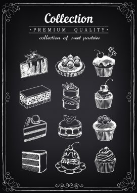 Set of hand-drawn vector icons pastries. Collection of cupcakes.