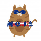 Meowica- Funny cartoon cat. Happy Independence Day, vector design illustration.