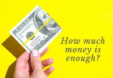 Dolarları yakın mesafeden tutan kadın eli için ne kadar para yeterlidir? Para birimi. İnternetten alışveriş. Para vermek. Zenginlik ve refah finansmanı iş bütçesi, madeni para, ekonomi, döviz kuru. Maaş yatırımı tasarrufu