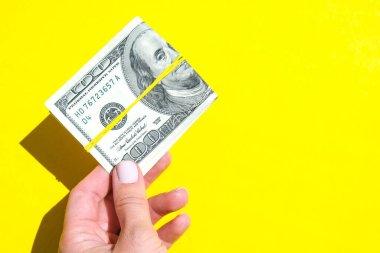 Dolarları tutan kadın eli. Para birimi. İnternetten alışveriş. Para vermek. Zenginlik ve refah finansmanı iş bütçesi, madeni para, ekonomi, döviz kuru. Maaş yatırımı tasarrufu