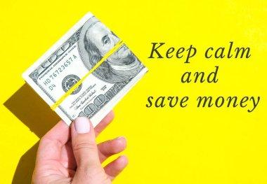 Sakin ol ve paradan tasarruf et. Dolarları elinde tutan kadın eli. Para birimi. İnternetten alışveriş. Para vermek. Zenginlik ve refah finansmanı iş bütçesi, madeni para, ekonomi, döviz kuru. Maaş yatırımı tasarrufu