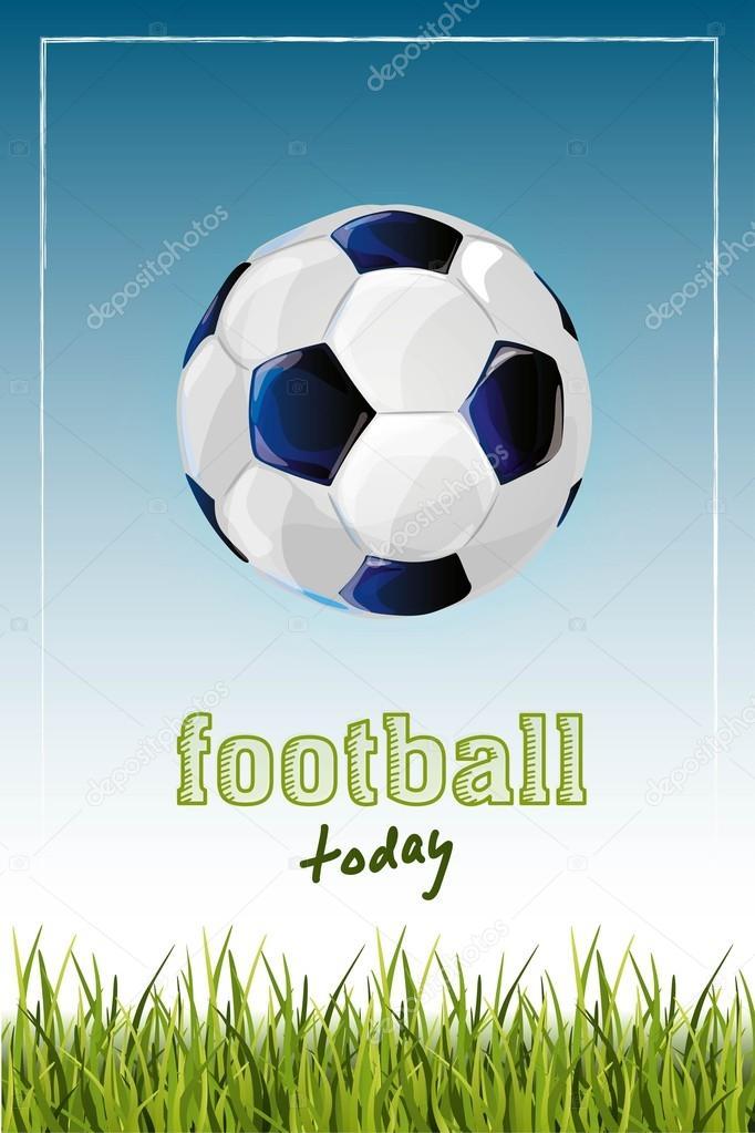 Plakat Z Piłki Nożnej Wydruku I Trawy Grafika Wektorowa