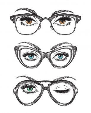 Hand drawn women's eyes with vintage glasses