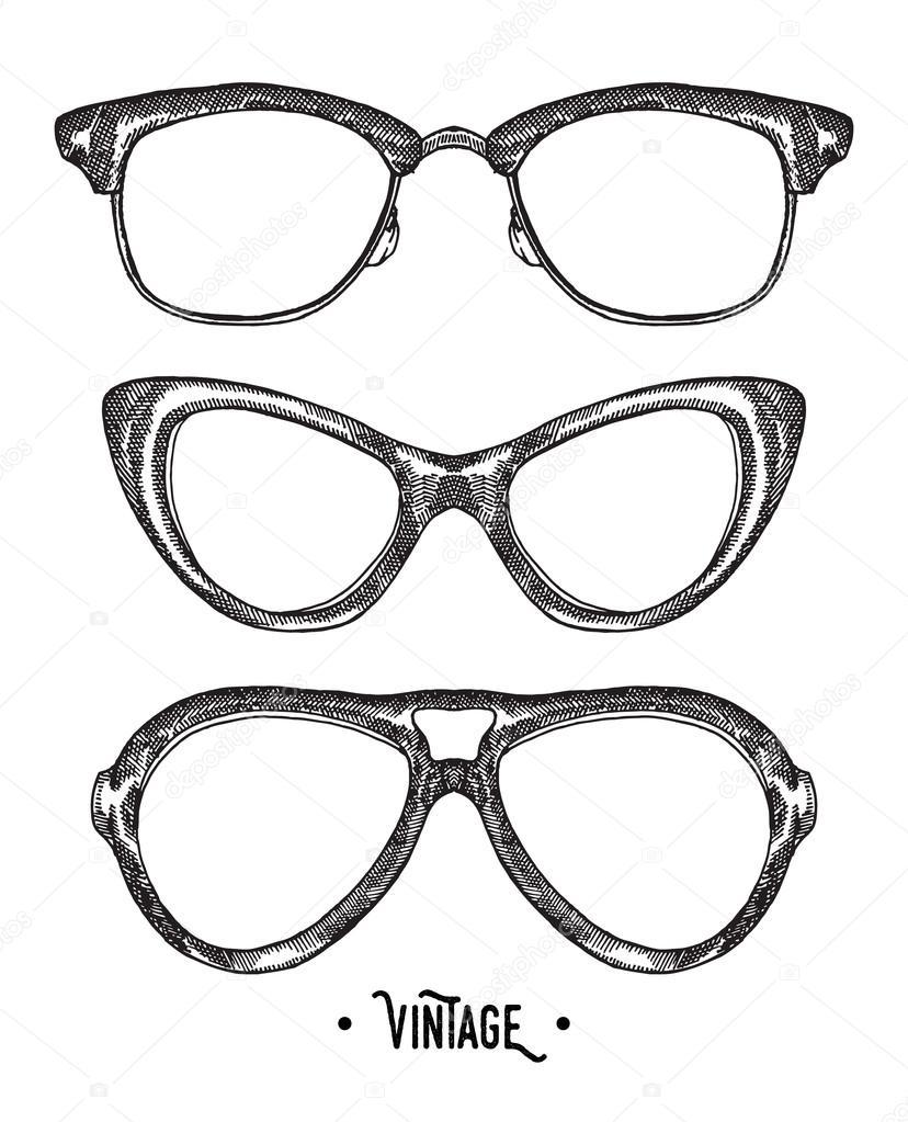 Hand drawn hipster glasses. Vintage vector illustration ...