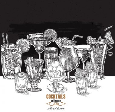 Hand drawn drinks illustration. Vector design vintage beverages