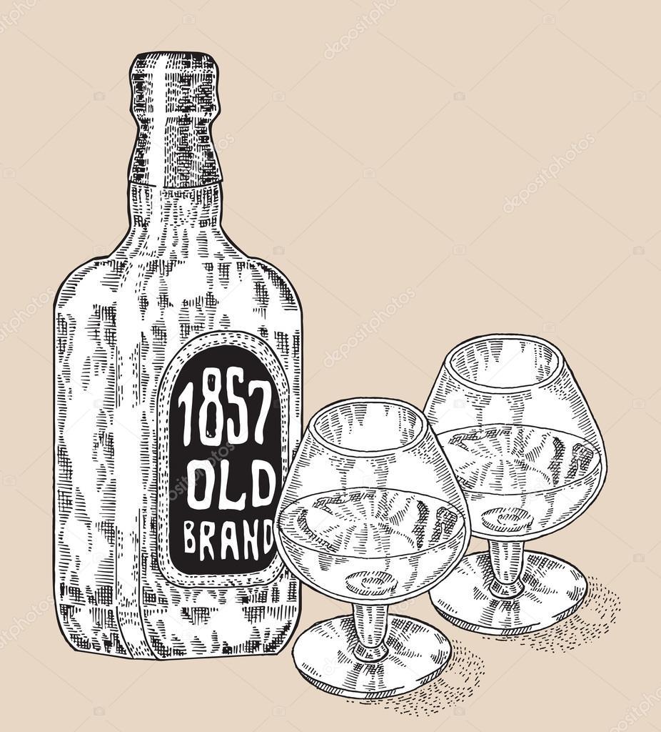 Flasche Whisky trinken. Handgezeichnete zwei Gläser Whisky. Graviert ...