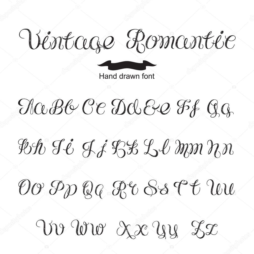 Odręczny Kaligrafia Vintage Romantyczny Czcionki Czarne
