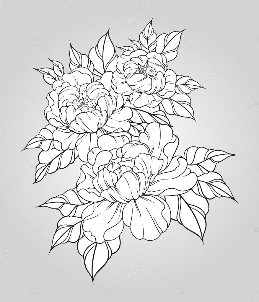 hand getekend pioenrozen in traditionele stijl van de japanse tattoo floral samenstelling in. Black Bedroom Furniture Sets. Home Design Ideas